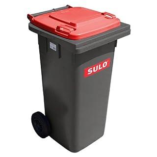Sulo Mülltonne grau mit Deckel Rot, 120 Liter