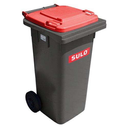 *Sulo Mülltonne grau mit Deckel Rot, 120 Liter*