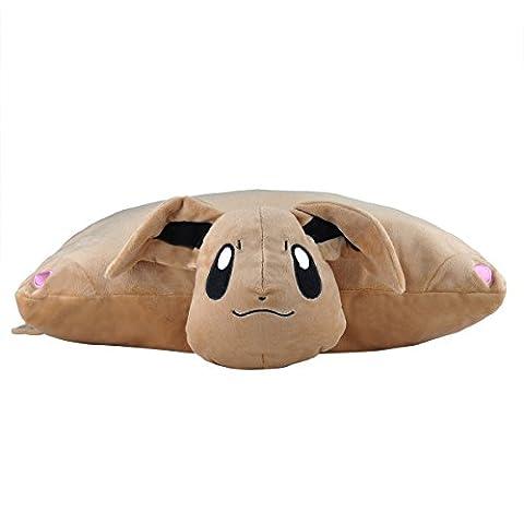 Carchet 1750 Pokémon Go Puscheliges Flausch-Kissen Plüschtier/Kuscheltier mit als Geschenk-Idee Flauschiges Evoli, XXL, 40 cm, braun