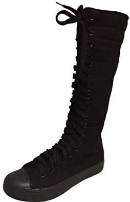 Punk Womens girls fashion knee high canvas boots shoes Sneakers + 5 color laces (2, Black)