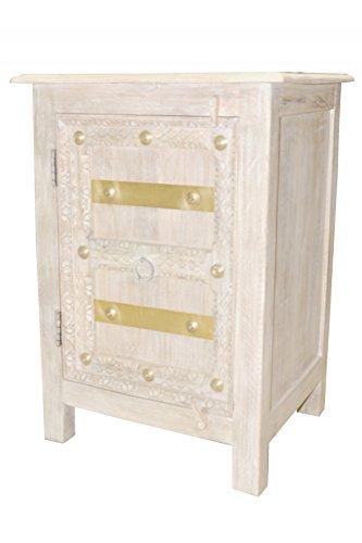 Orientalischer Holz Nachttisch Santino Shabby Weiss Holz
