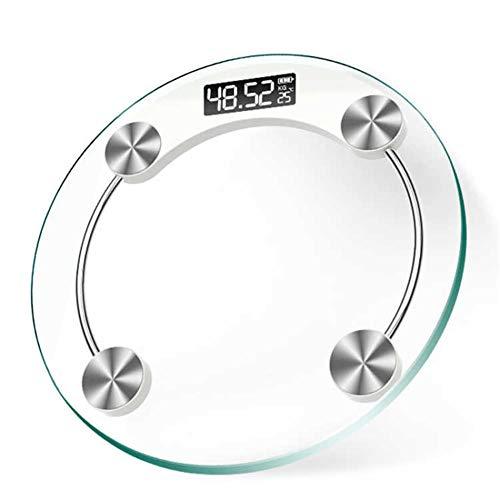 Kitrack Digital-Elektronische PersöNliche Skala-Glas-LCD-Badezimmer-KöRper-Skala 180kg / 396lb Rund - Glas-digital-skala