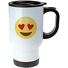Taza Térmica Emoji – Taza Impresa De Acero Inoxidable – Emoji: Corazones en los ojos – Versión Standard – Taza Termo Con Tapa Hermética y Asa – Ideas De Regalo Divertidas De Cumpleaños