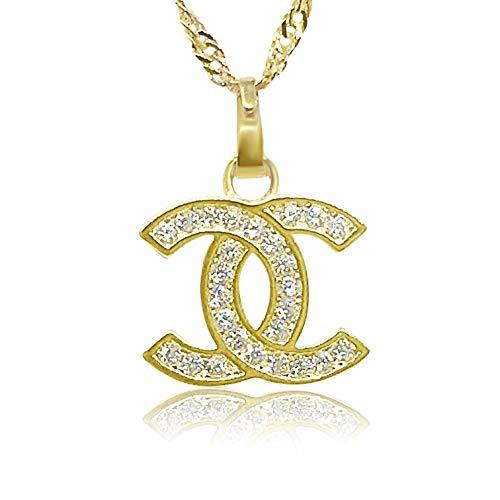 Vision Creations Silber/Gold Kette Halskette Anhänger (164-385-CC-12) Geschenk für Damen Mädchen Kettenlänge 44CM (Gold)