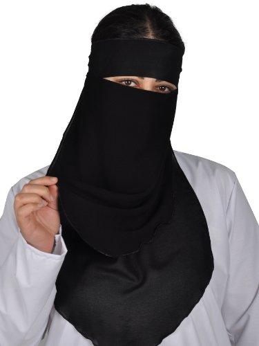 Egypt Bazar Niqab zweilagig - Hijab Gesichtsschleier Burka Khimar Islamische Gebetskleidung, schwarz oder braun (Schwarz)