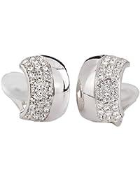 252a7eb4f4dc Traveller® joyas pendientes pendientes Clip con Crystals from Swarovski® –  rodio – Kleine halbcreolen