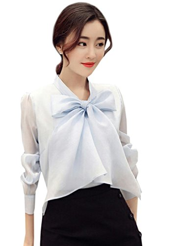 Azbro Women's Fashion Bow Tie Collar Long Sleeve Solid Blouse Light Blue