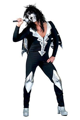 Glam Rock Herren-Kostüm Rockstar Overall mit Cape Schwarz/Silber Kiss Spaceman, ()