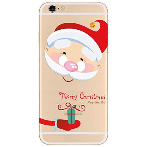 WeLoveCaseiPhone Weihnachten Custom Edition Hülle Schutzfolie für iPhone 6 Christmas Style Cover Gute Qualität Soft TPU Schutzhülle Black Skin Stil Weihnachtsmann Kopf Muster Flexibel Case Protective  Cadeaux Noël