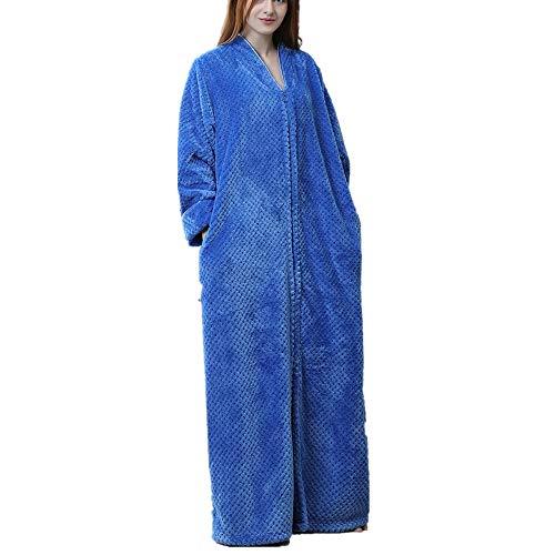 Langer Damen Plus Bademantel (M bis XL), Reißverschlusskleid, Mikrofaser (100% Polyester) - 2 Taschen, Gürtel - weicher, saugfähiger, bequemer - Paare Gamer Kostüm