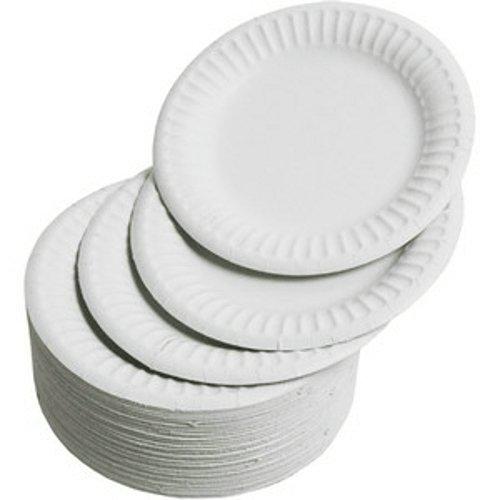 GSL Lot de 100 Assiettes jetables en carton Blanc 18 cm
