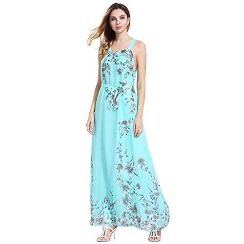 M-Queen Sans Manches Robe Femme Halter Floral Imprimé Mousseline De Soie Robe De Cocktail Mariage Dress Bleu