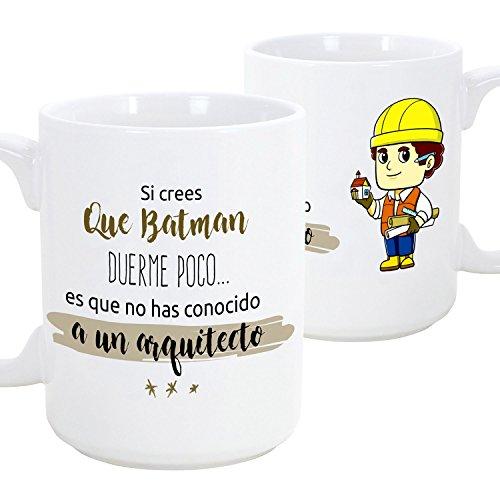 Taza de desayuno original para regalar a trabajadores profesionales - Regalo para arquitectos - Si crees que Batman duerme poco es que no has conocido a un arquitecto (hombre) - Cerámica 350 ml (1 unidad)