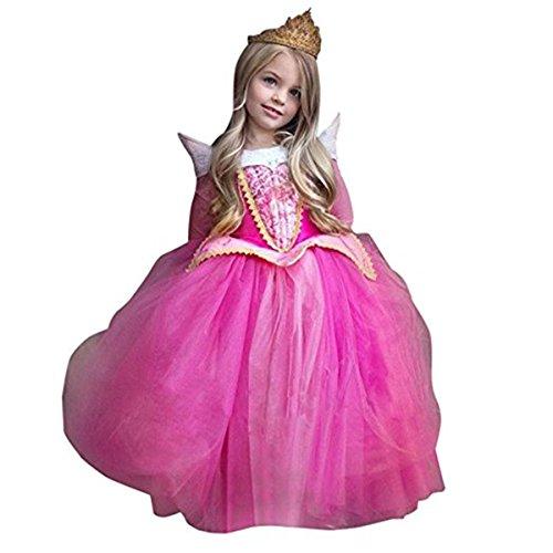 Vestito Abito per bambino ragazza bambina Principessa Natale Partito Compleanno bambini vestito carnevale bambina abiti Principessa Fantasia Vestite Halloween Costume (Rosa, 130(6T))