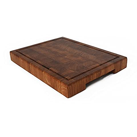 Large Hand Made End Grain Oak Chopping Board-Knife friendly Antibacterial Butchers Block Cutting Board used as Worktop Saver for Chefs and Amateurs alike Includes a Manual on How to Look After Your set of Board. End grain board does not blunt