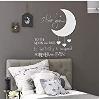 Vinyl Kids Bedroom Wall Decals I Love You to The Moon and Back Wall Sticker for Baby Room Nursery Decor Baby Room Wall Mural 42X42Cm
