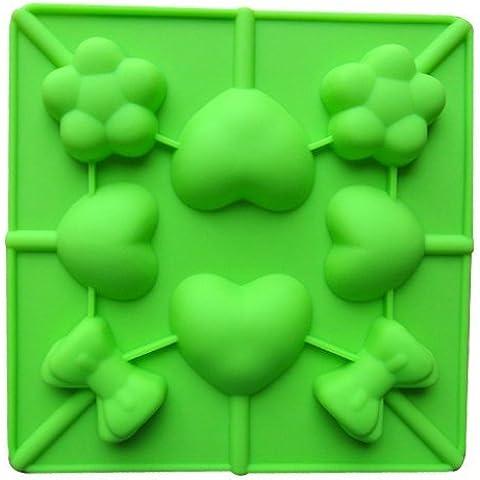 Dansuet 8 Cavit¨¤ antiaderente Lollipop del gel del silicone della muffa della torta di cioccolato della muffa del mestiere Candy sapone cottura Bakeware fai da te, muffa del sapone cottura Bakeware fai da te per le donne