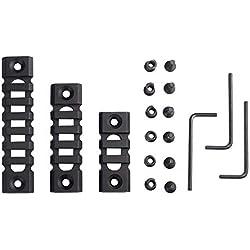 3 Paquets Picatinny Rail Super Léger 3-Slot 5-Slot 7-Slot Weaver Keymod Rail pour Système de Montage Handguard avec 3 clés Allen Aluminium Noir