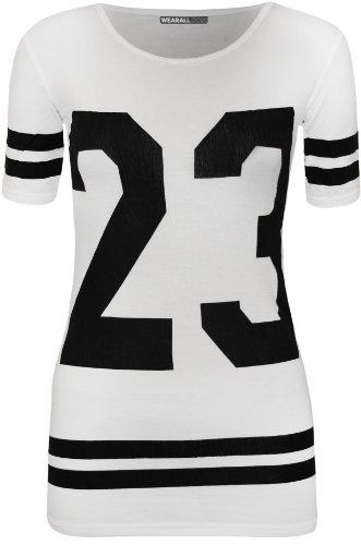 Weiße Baseball-t-shirt (WearAll - Damen 23 Streifen Baseball Varsity Druck Kurzarm T-Shirt Top - Weiß - 40-42)