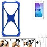 K-S-Trade Handyhülle für Huawei Y6 (2017) Single SIM Bumper Schutzhülle Silikon Schutz Hülle Cover Case Silikoncase Silikonbumper TPU Softcase Smartphone, Blau (1x), Headphones