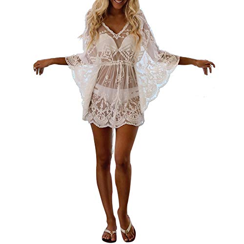 Frauen sexy Langarm v-Ausschnitt Boho Spitze Abdeckung Kurze minikleid Sommerkleid perspektive hohl einfarbig kittel YunYoud Damen Kurze Strandmode Sommerkleid Beiläufige Kleider Kittel-set