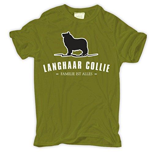 Männer und Herren T-Shirt Langhaar Collie - Familie ist alles Größe S - 8XL Moosgrün