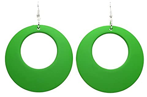 Bluebubble DISCO FEVER Large Round Hoop Earrings - 32 Colours Available (Emerald Green)