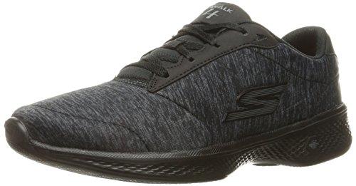 Skechers Damen Go Walk 4 - Glorify Sneakers, Black/Grey Heather 44 EU