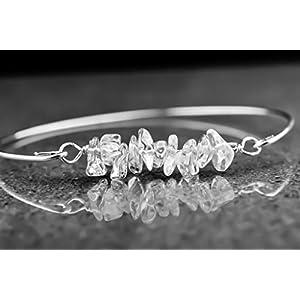 Armreif mit Bergkristall Schmuck mit Edelstein Bergkristall Geburtsstein März Geschenkidee für Sie personalisiert…