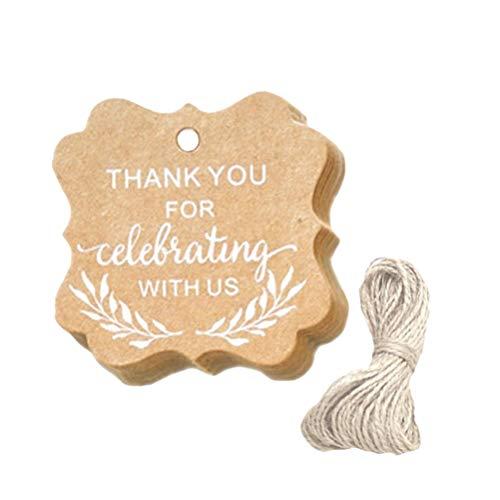 apier-Geschenk-Umbauten mit Schnur-Gastgeschenke danken Ihnen für das Feiern mit uns hängendem Tag für DIY Verpackung Hochzeits-Dekor ()
