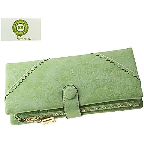 KIWISUNNY Moda Mujer Gran capacidad Cartera/Monedero/Billetera/Bolso de la señora/ de cuero larga con el botón y construido en el bolsillo de la