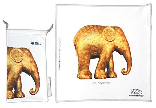 HAPPY WIPEY -Premium Microfaser Reinigungstuch + Pouch HAPPY WIPEY Elephant Parade - LUCKY COINS - Santi Takaew