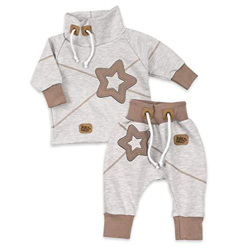 Baby Sweets Set Hose und Shirt Unisex beige braun | Motiv: Star | Baby Outfit mit Sternen-Applikationen für Neugeborene & Kleinkinder | Größe: 24 Monate (92)...