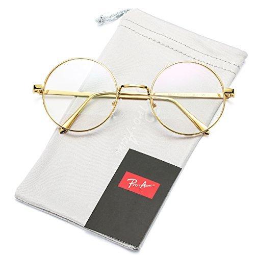 Pro Acme unisex retro-runde metallrahmen klare linse gläser non-rezept Gold Rahmen/Clear Linse Large