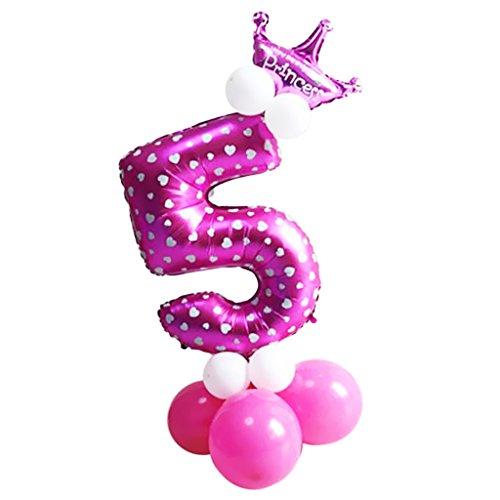 MagiDeal Zahlenballon mit Zahl 0-9 Latexballon Riesenzahl Luftballon Folienballon Baby Mädchen Dusche Party Kindergeburtstag Deko - Nummer 5