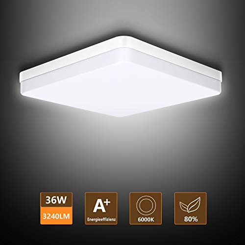 Ouyulong LED Deckenleuchte 36W 6000K 3240LM, Für Wohnzimmer,Schlafzimmer,Balkon -Super helle Deckenleuchte, Deckenleuchte Wohnzimmer Weiß 230×230×40 mm