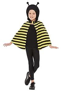 Smiffys 41161SM Bumblebee Capa con capucha, Unisex Niños, Negro y Amarillo, S a M - Edad 4 - 7 años