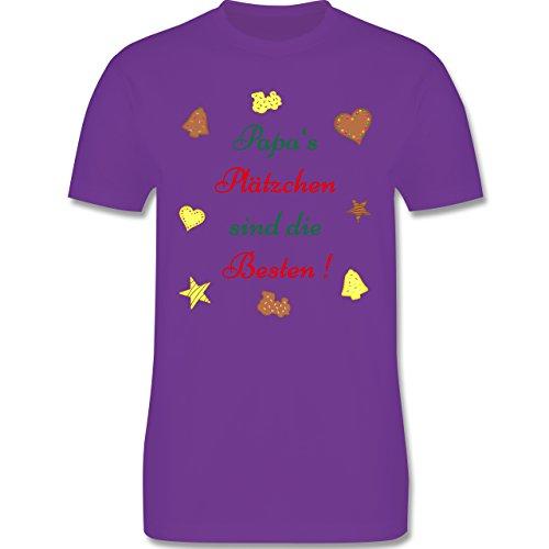 Weihnachten Geschenk für Erwachsene - Papa's Plätzchen sind die Besten Backen - L190 - Premium Männer Herren T-Shirt mit Rundhalsausschnitt Lila