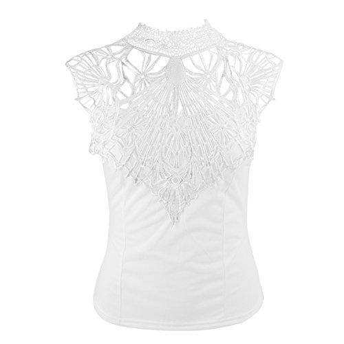 LAEMILIA Débardeurs Chemise Femme Dentelle Mousseline de Soie Dos Nu Blouse Sans Manche Slim Shirts Tops Hauts Blanc