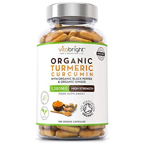 Organic Turmeric Curcumin 1380mg with Organic Black Pepper & Organic Ginger   High Potency   120 Veg Capsules   Certified Organic, Non GMO, Vegan & Gluten Free