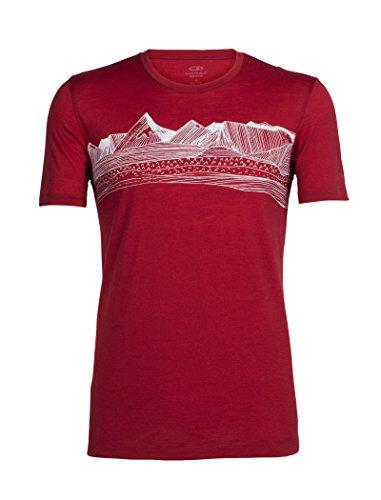 Icebreaker Herren Tech Lite Short Sleeve Crewe Pyrenees T-Shirt, Oxblood, XL (Icebreaker-wolle T-shirt)