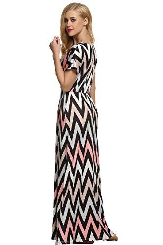 CRAVOG Sexy Damen Maxikleid Strandkleid Sommerkleider Partykleid lange Kleider Grau
