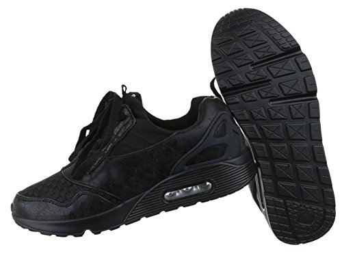 Damen Freizeitschuhe Schuhe Runner Sneakers Sportschuhe Schwarz Gold 36 37 38 39 40 41 Schwarz