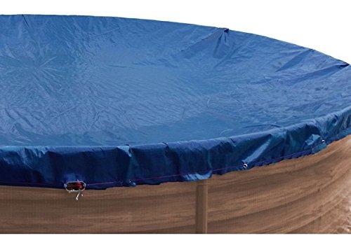 well2wellness® Premium Abdeckplane blau/schwarz für Rundbecken mit Durchm. 3,50 - 3,60 m