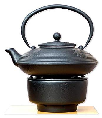 Gifts of the Orient Chauffe-théière et théière en fonte d'inspiration japonaise Motif calligraphie Noir 0,8 l