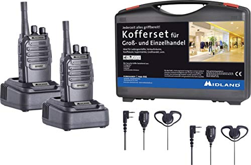 Midland pacco di 2 Security Kofferset BR02 PMR con Security Headset, AE 32-K