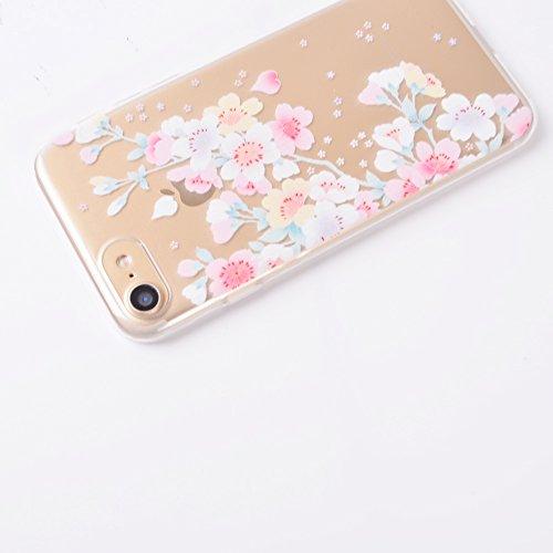 Coque iPhone 7 (4,7 Pouces) ,BONROY® Ultra-Mince Soft Silicone Etui de Protection pour Modèle de peinture Souple Gel TPU Bumper Anti-Scratch Housse Case Cover Pour iPhone 7 (4,7 Pouces) fleurs de cerisier