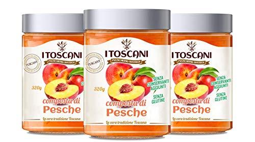 Confettura extra di pesche 3 confezioni da 320 g - i Toscani. Senza GLUTINE, senza CONSERVANTI aggiunti, italia