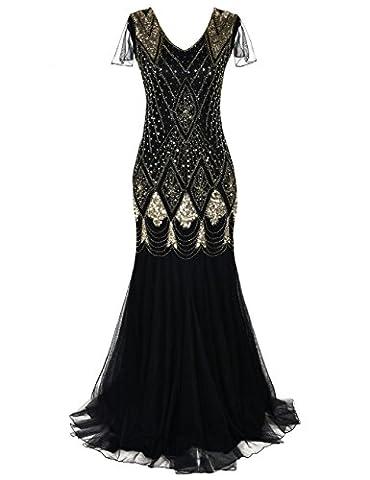 Kayamiya Damen 1920er Jahre Lange Abschlussball Kleid Hülsen Pailletten Formell Abendkleid M Gold