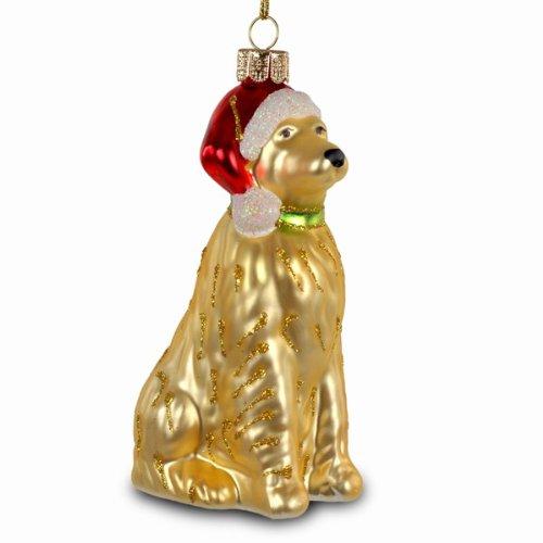 SIKORA Christbaumschmuck Glas Ornament / HUND MIT WEIHNACHTSMÜTZE - H:12cm